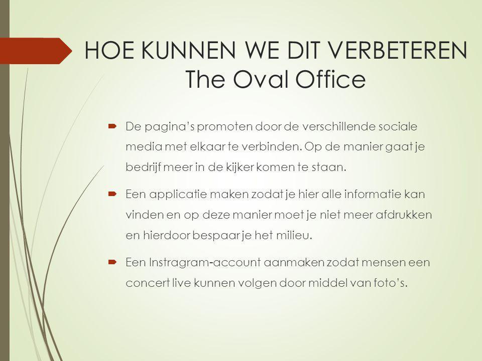 HOE KUNNEN WE DIT VERBETEREN The Oval Office  De pagina's promoten door de verschillende sociale media met elkaar te verbinden.