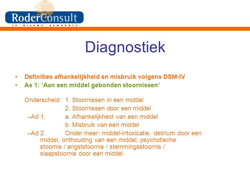 Diagnostiek Definities afhankelijkheid en misbruik volgens DSM-IV As 1: 'Aan een middel gebonden stoornissen' Onderscheid:1.