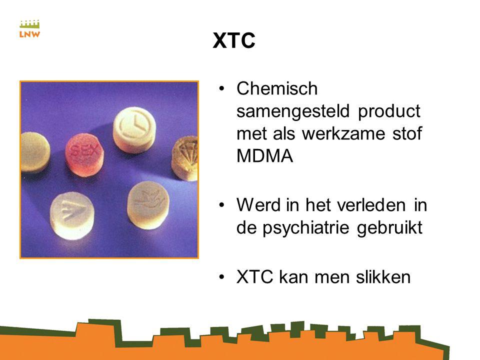 XTC Chemisch samengesteld product met als werkzame stof MDMA Werd in het verleden in de psychiatrie gebruikt XTC kan men slikken