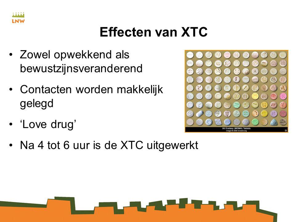Effecten van XTC Zowel opwekkend als bewustzijnsveranderend Contacten worden makkelijk gelegd 'Love drug' Na 4 tot 6 uur is de XTC uitgewerkt