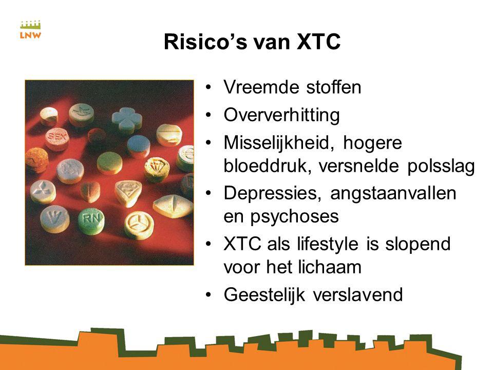Risico's van XTC Vreemde stoffen Oververhitting Misselijkheid, hogere bloeddruk, versnelde polsslag Depressies, angstaanvallen en psychoses XTC als lifestyle is slopend voor het lichaam Geestelijk verslavend