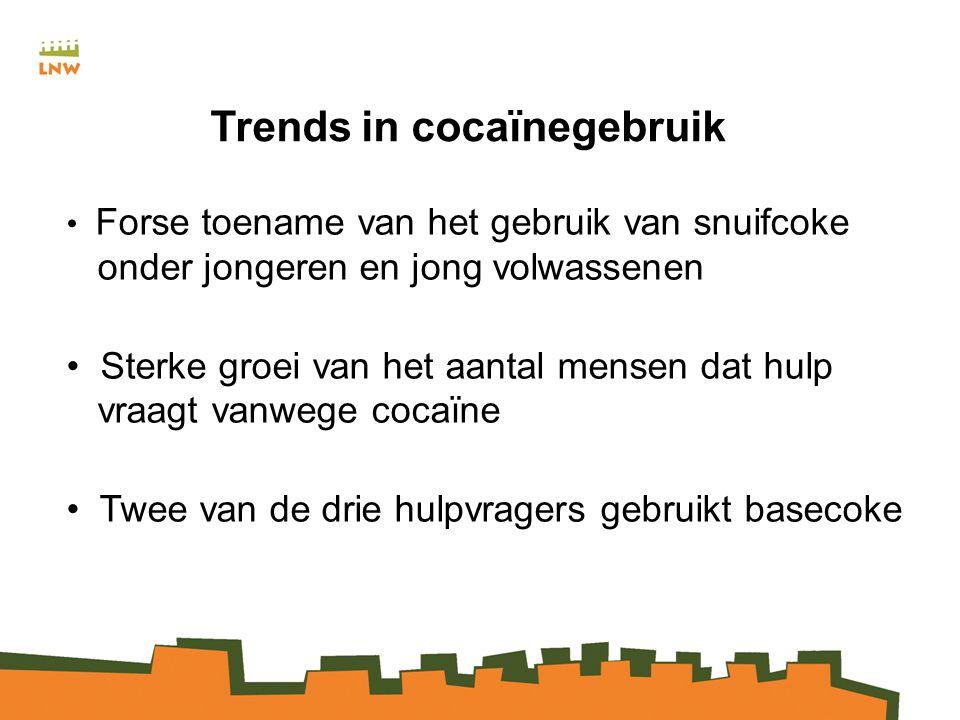 Trends in cocaïnegebruik Forse toename van het gebruik van snuifcoke onder jongeren en jong volwassenen Sterke groei van het aantal mensen dat hulp vraagt vanwege cocaïne Twee van de drie hulpvragers gebruikt basecoke