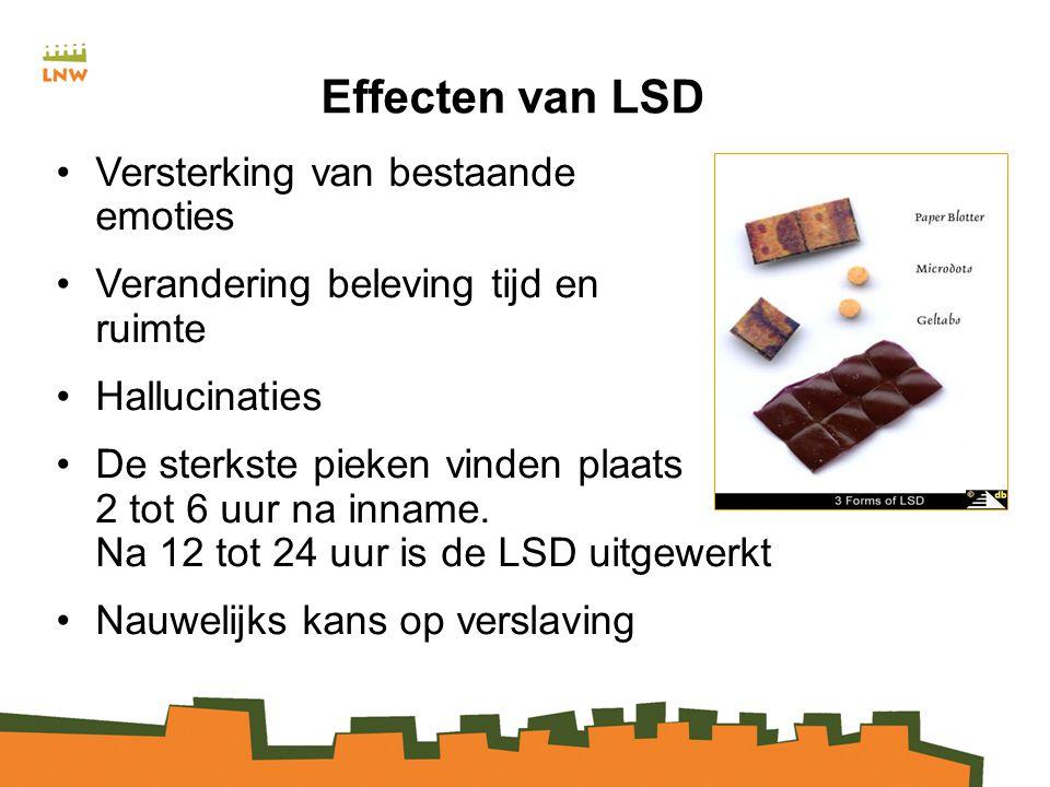 Effecten van LSD Versterking van bestaande emoties Verandering beleving tijd en ruimte Hallucinaties De sterkste pieken vinden plaats 2 tot 6 uur na inname.
