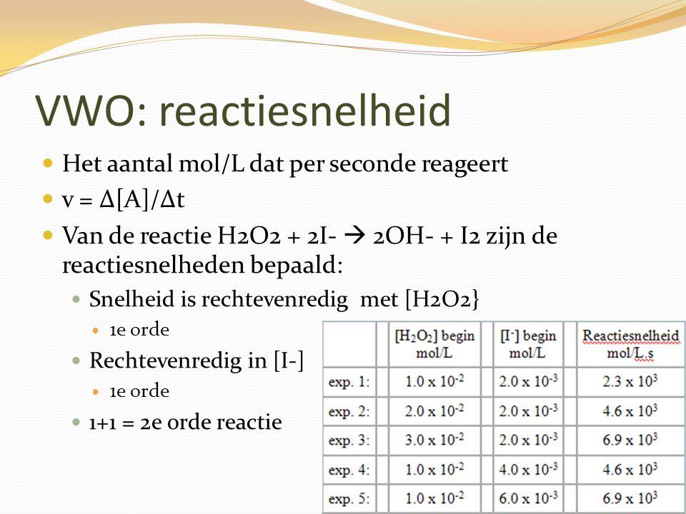 VWO: Reactiesnelheidsvergelijking Zie BINAS 37 A Bij een 1e orde reactie: s = k x [A] Bij een 2e orde reactie: s = k x [A] x [B] of s = k x [A] 2 k wordt bepaald door de overige gegevens experimenteel te bepalen.