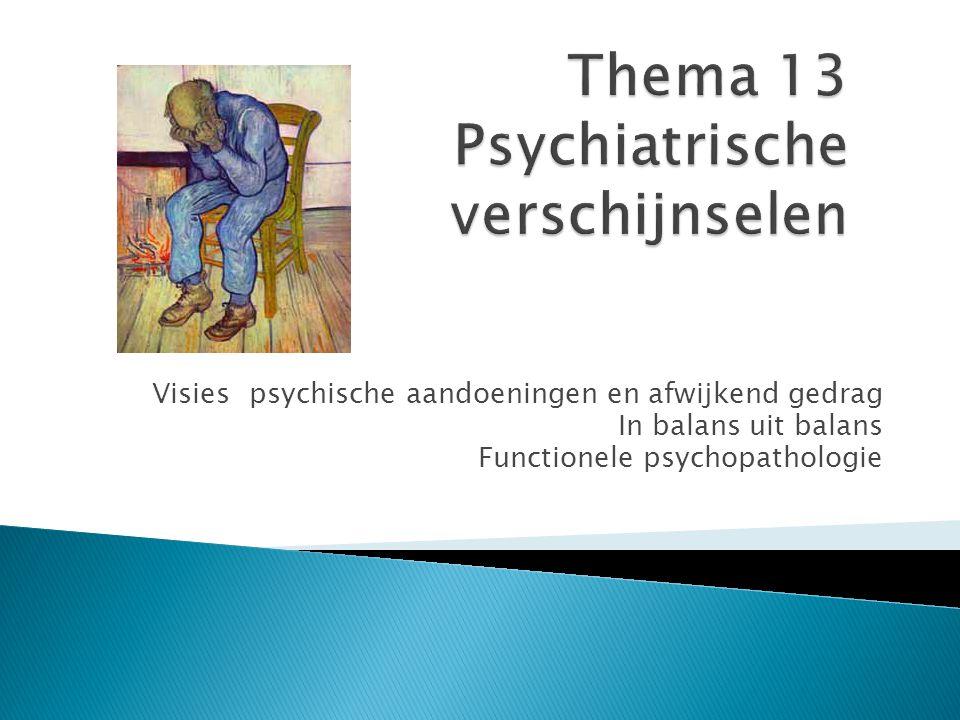 Visies psychische aandoeningen en afwijkend gedrag In balans uit balans Functionele psychopathologie