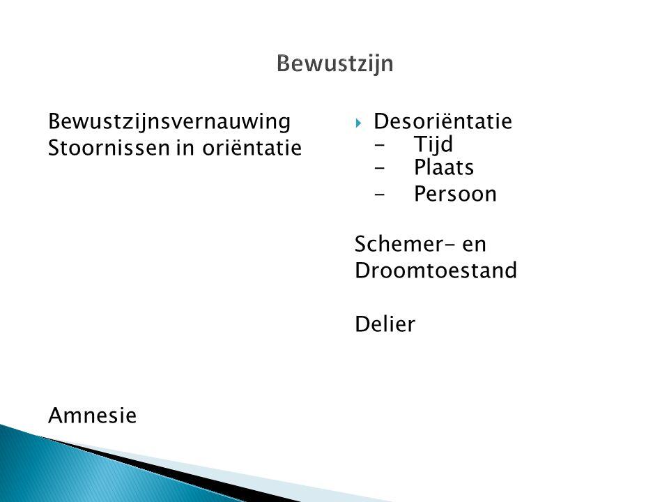 Bewustzijnsvernauwing Stoornissen in oriëntatie Amnesie  Desoriëntatie -Tijd -Plaats -Persoon Schemer- en Droomtoestand Delier