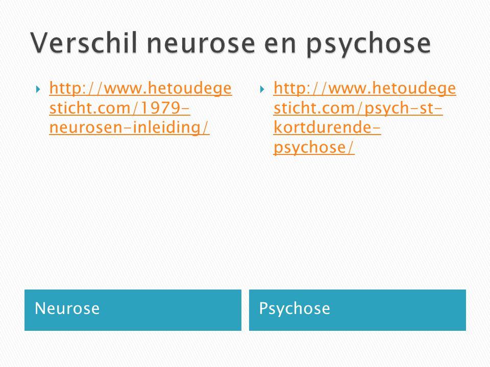 NeurosePsychose  http://www.hetoudege sticht.com/1979- neurosen-inleiding/ http://www.hetoudege sticht.com/1979- neurosen-inleiding/  http://www.het