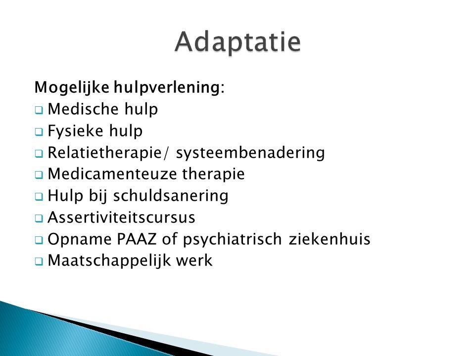 Mogelijke hulpverlening:  Medische hulp  Fysieke hulp  Relatietherapie/ systeembenadering  Medicamenteuze therapie  Hulp bij schuldsanering  Ass