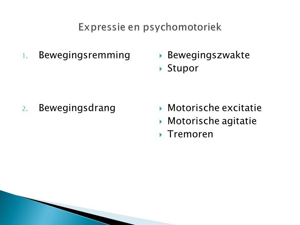 1. Bewegingsremming 2. Bewegingsdrang  Bewegingszwakte  Stupor  Motorische excitatie  Motorische agitatie  Tremoren