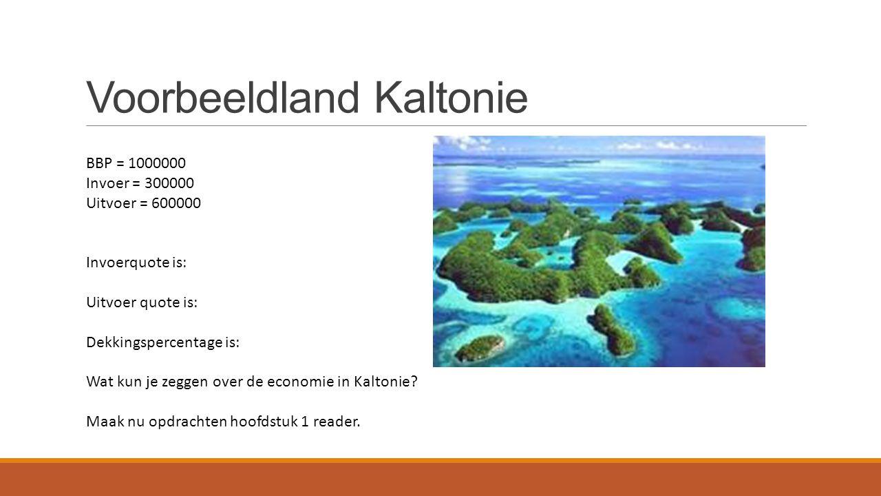 Voorbeeldland Kaltonie BBP = 1000000 Invoer = 300000 Uitvoer = 600000 Invoerquote is: Uitvoer quote is: Dekkingspercentage is: Wat kun je zeggen over de economie in Kaltonie.