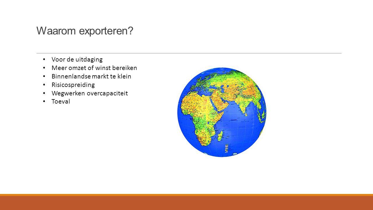 Waarom exporteren? Voor de uitdaging Meer omzet of winst bereiken Binnenlandse markt te klein Risicospreiding Wegwerken overcapaciteit Toeval