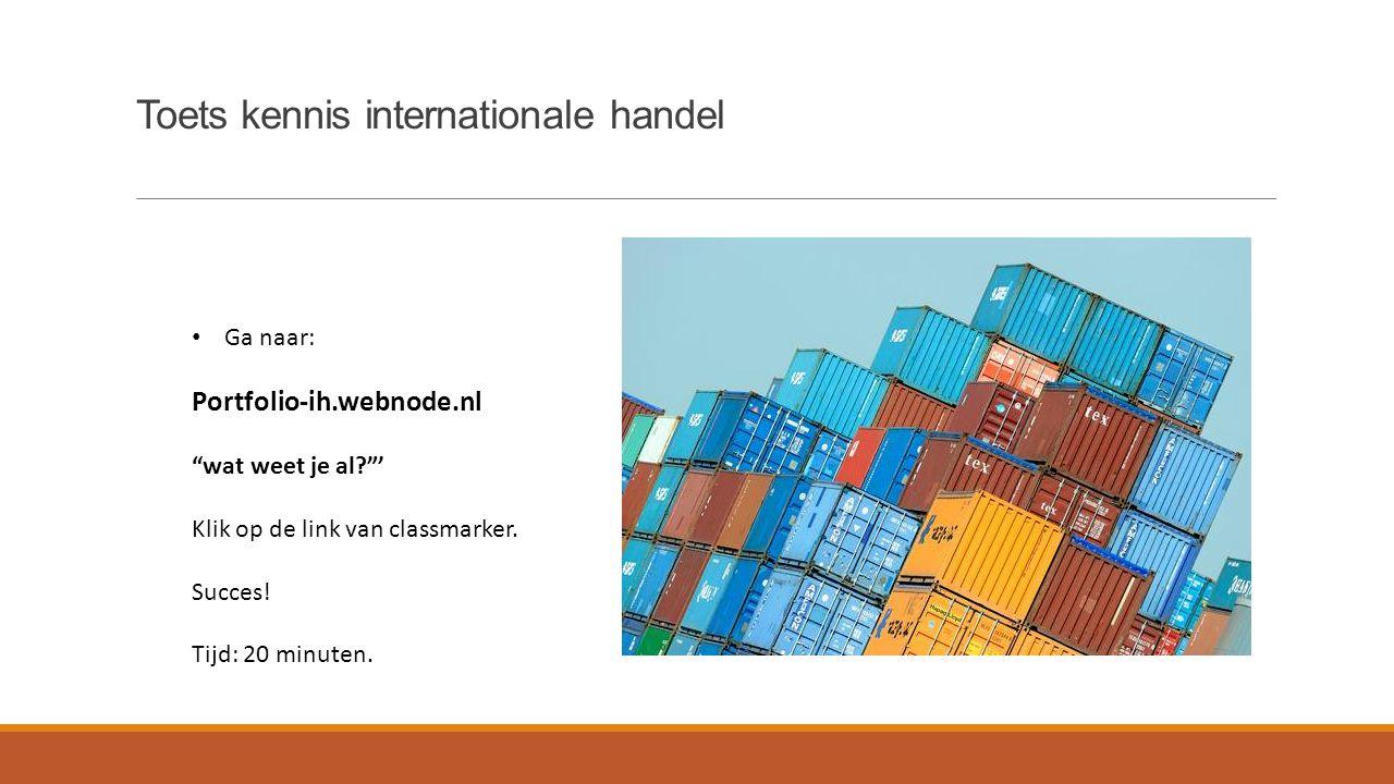 """Toets kennis internationale handel Ga naar: Portfolio-ih.webnode.nl """"wat weet je al?""""' Klik op de link van classmarker. Succes! Tijd: 20 minuten."""