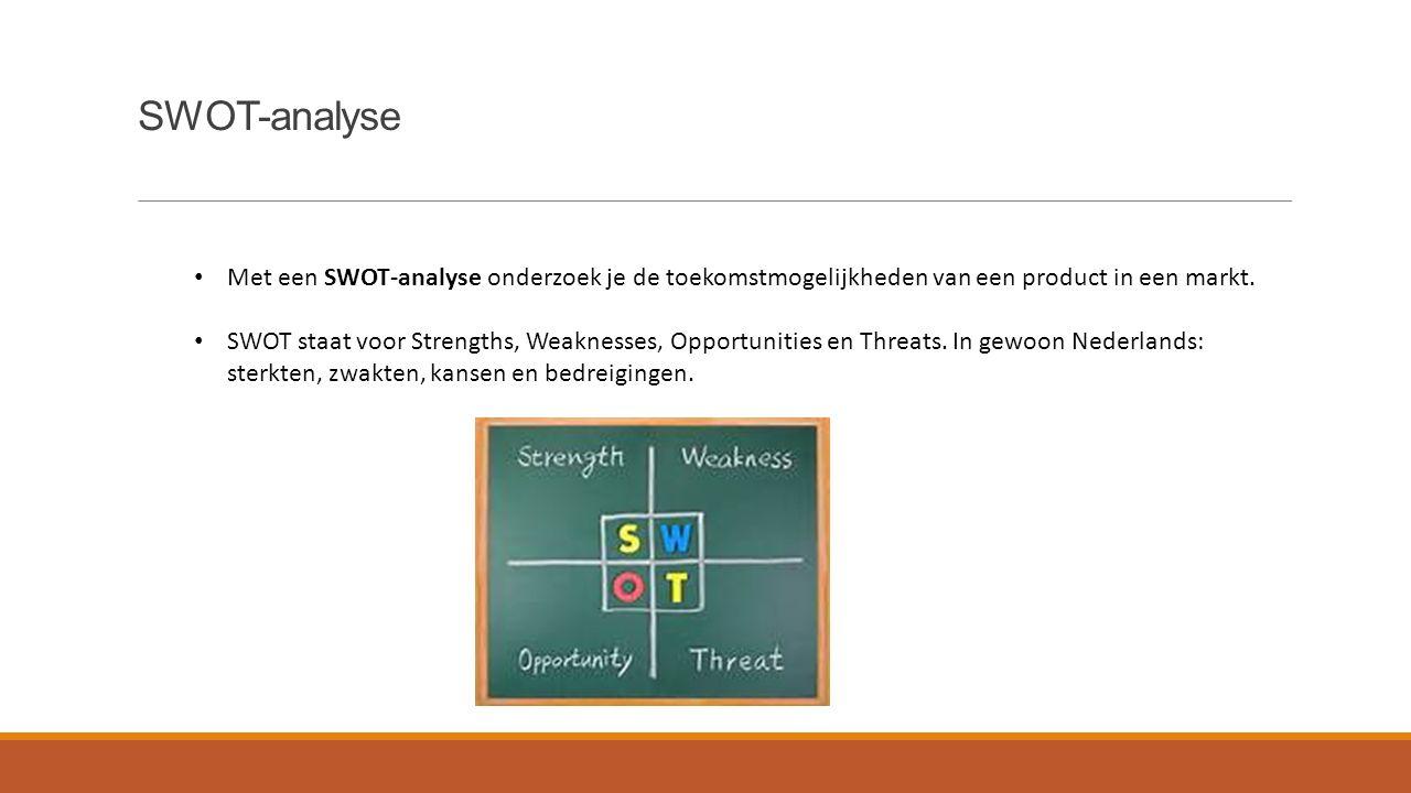 SWOT-analyse Met een SWOT-analyse onderzoek je de toekomstmogelijkheden van een product in een markt. SWOT staat voor Strengths, Weaknesses, Opportuni