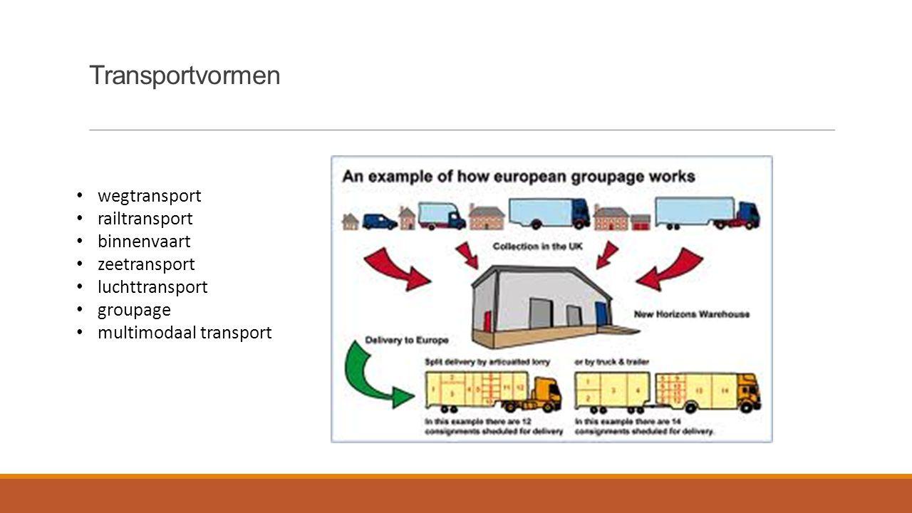 Transportvormen wegtransport railtransport binnenvaart zeetransport luchttransport groupage multimodaal transport