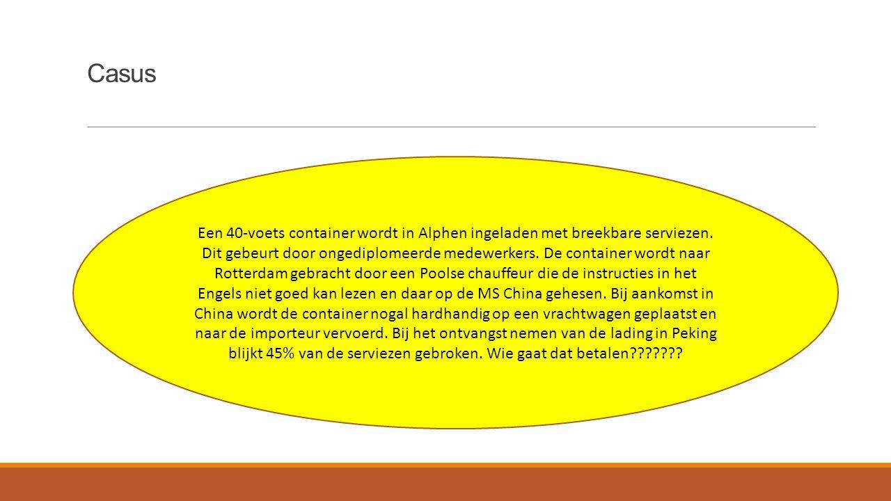 Casus Een 40-voets container wordt in Alphen ingeladen met breekbare serviezen.