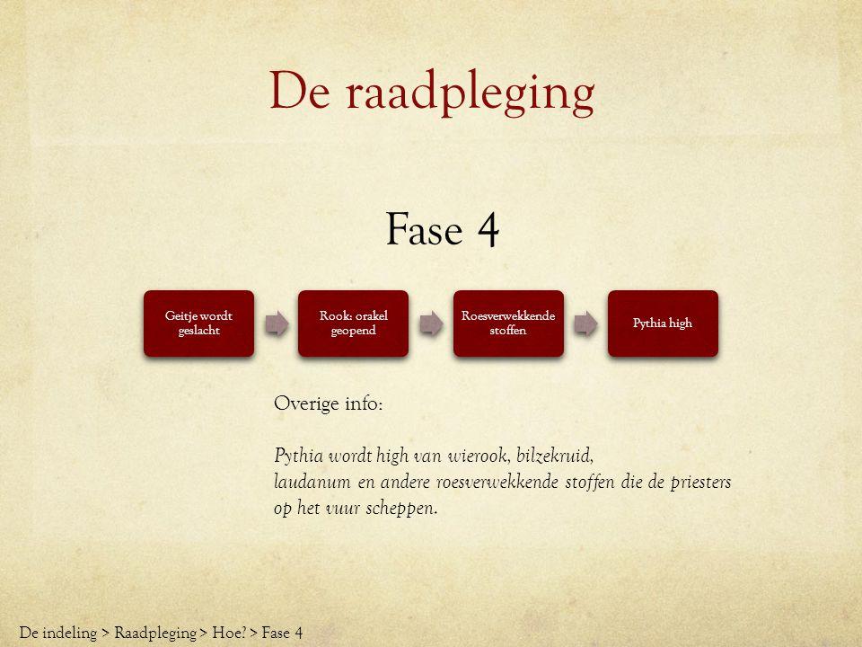 De raadpleging Fase 4 Geitje wordt geslacht Rook: orakel geopend Roesverwekkende stoffen Pythia high De indeling > Raadpleging > Hoe? > Fase 4 Overige