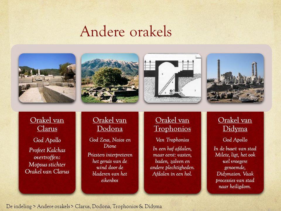 Andere orakels Orakel van Clarus God Apollo Profeet Kalchas overtroffen: Mopsus stichter Orakel van Clarus Orakel van Dodona God Zeus, Naios en Dione
