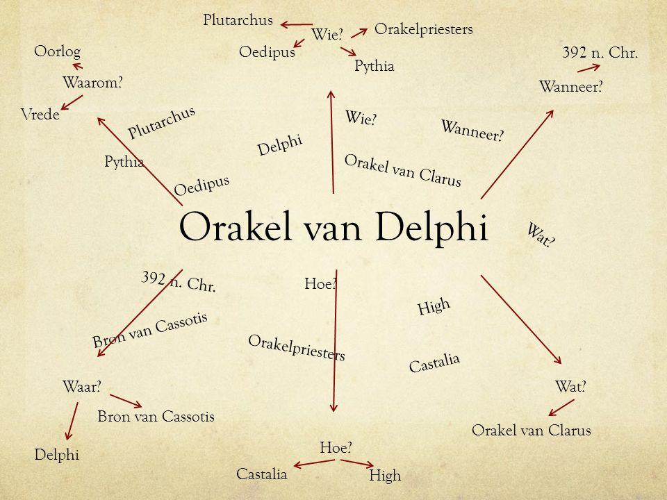 Orakel van Delphi Pythia Delphi Plutarchus Wie? Wat? Hoe? Wanneer? 392 n. Chr. Orakelpriesters High Orakel van Clarus Oedipus Castalia Bron van Cassot