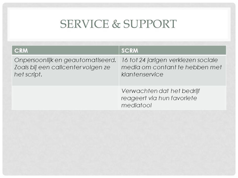 SERVICE & SUPPORT CRMSCRM Onpersoonlijk en geautomatiseerd. Zoals bij een callcenter volgen ze het script. 16 tot 24 jarigen verkiezen sociale media o