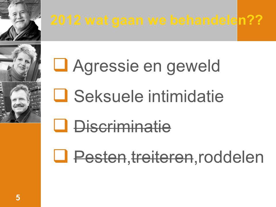 2012 wat gaan we behandelen??  Agressie en geweld  Seksuele intimidatie  Discriminatie  Pesten,treiteren,roddelen 5