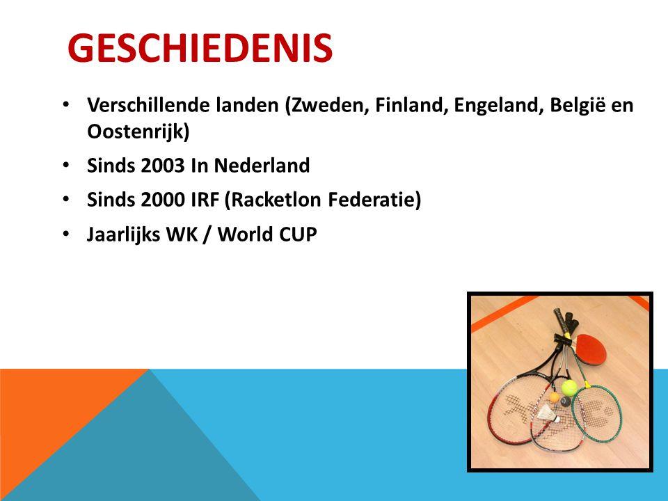 GESCHIEDENIS Verschillende landen (Zweden, Finland, Engeland, België en Oostenrijk) Sinds 2003 In Nederland Sinds 2000 IRF (Racketlon Federatie) Jaarlijks WK / World CUP