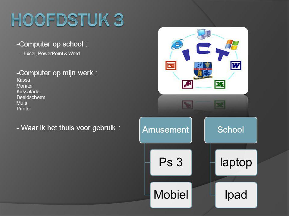 -Computer op school : - Excel, PowerPoint & Word -Computer op mijn werk : Kassa Monitor Kassalade Beeldscherm Muis Printer - Waar ik het thuis voor ge