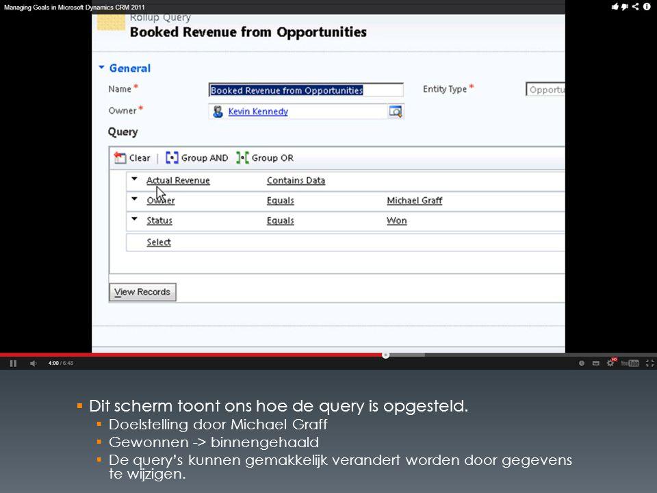 Dit scherm toont ons hoe de query is opgesteld.