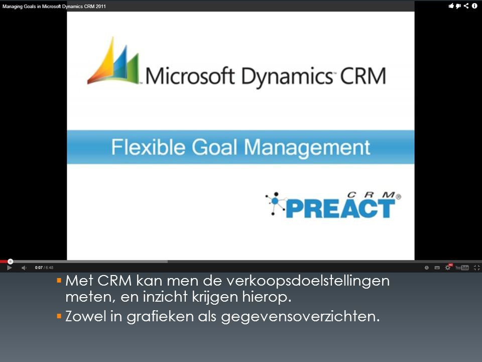  Met CRM kan men de verkoopsdoelstellingen meten, en inzicht krijgen hierop.