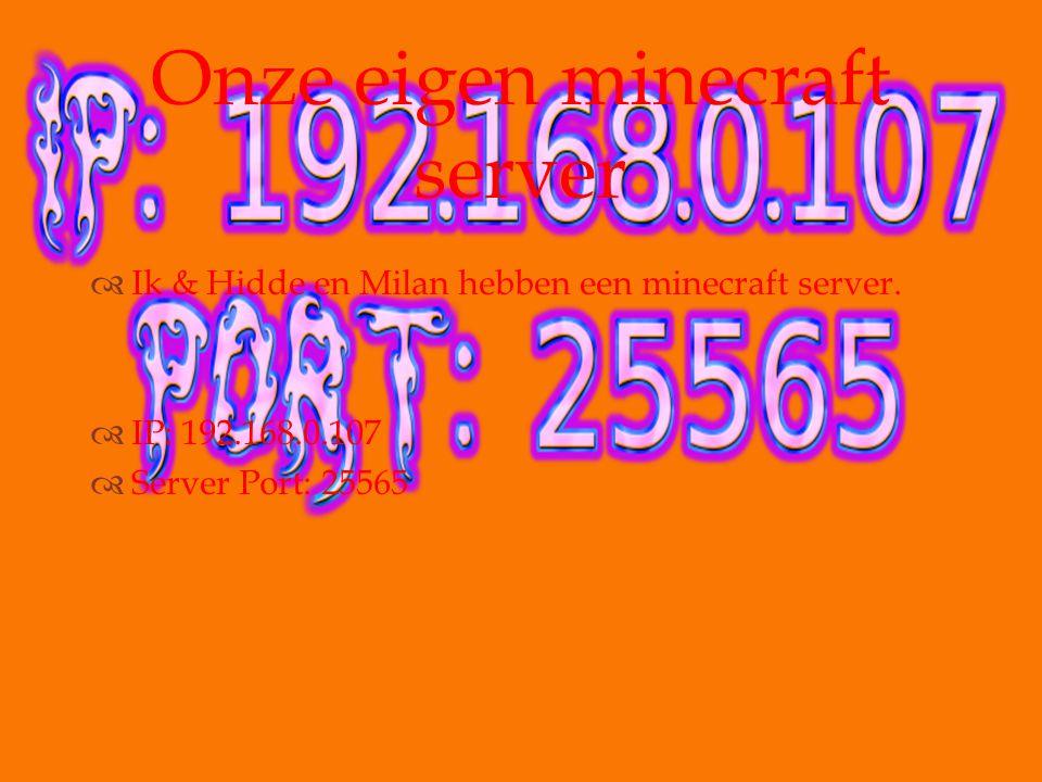   Ik & Hidde en Milan hebben een minecraft server.  IP: 192.168.0.107  Server Port: 25565 Onze eigen minecraft server