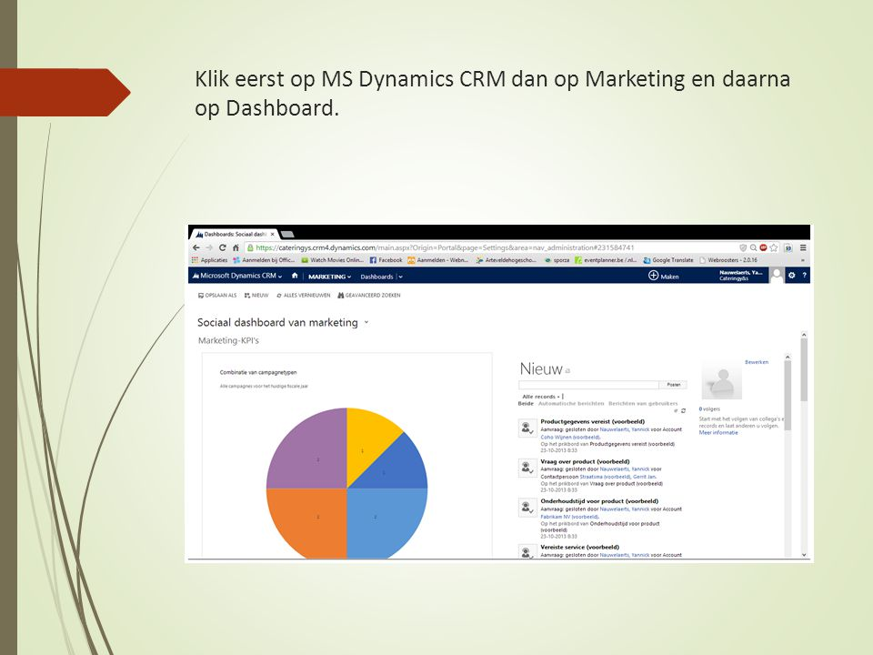 Klik eerst op MS Dynamics CRM dan op Marketing en daarna op Dashboard.