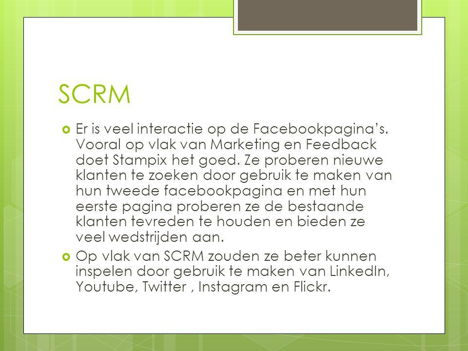 SCRM  Er is veel interactie op de Facebookpagina's. Vooral op vlak van Marketing en Feedback doet Stampix het goed. Ze proberen nieuwe klanten te zoe
