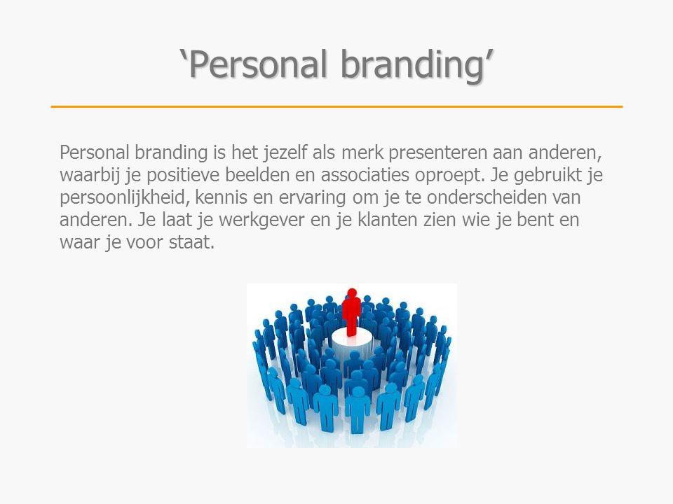 Personal branding is het jezelf als merk presenteren aan anderen, waarbij je positieve beelden en associaties oproept. Je gebruikt je persoonlijkheid,