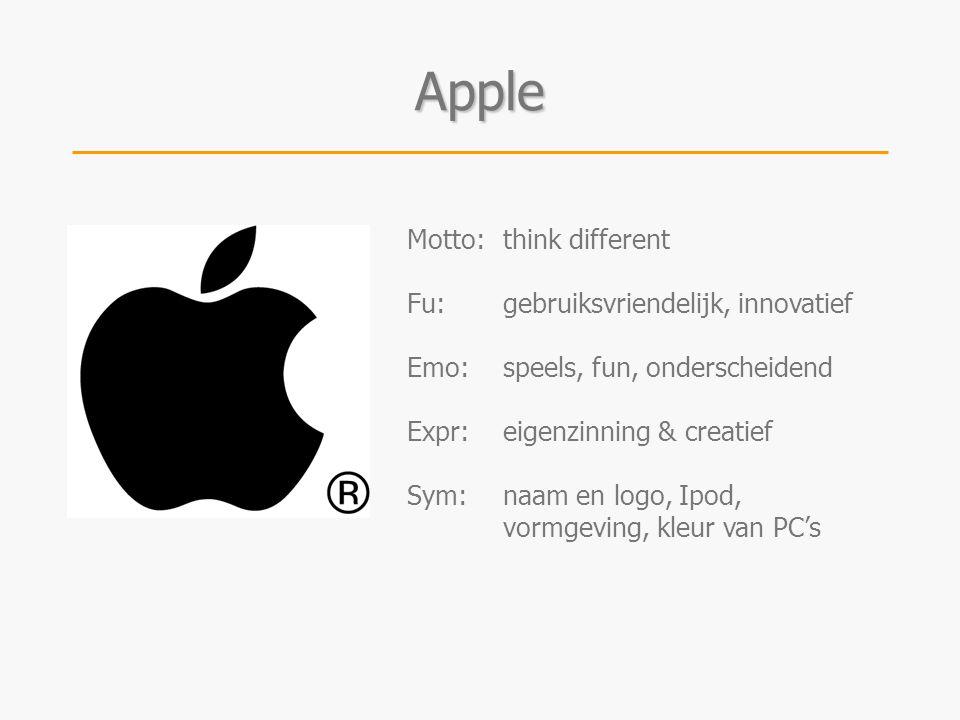 Motto:think different Fu:gebruiksvriendelijk, innovatief Emo:speels, fun, onderscheidend Expr:eigenzinning & creatief Sym:naam en logo, Ipod, vormgevi