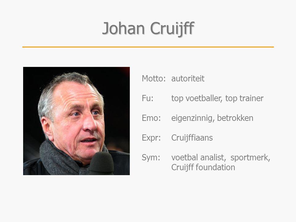 Johan Cruijff Motto:autoriteit Fu:top voetballer, top trainer Emo:eigenzinnig, betrokken Expr:Cruijffiaans Sym:voetbal analist, sportmerk, Cruijff fou