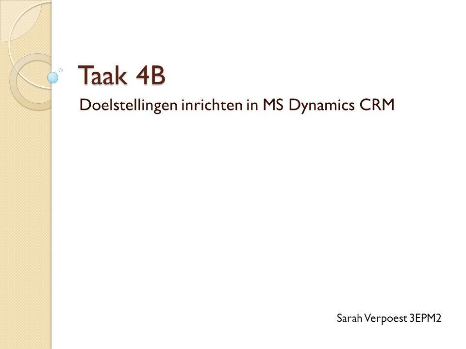 Taak 4B Doelstellingen inrichten in MS Dynamics CRM Sarah Verpoest 3EPM2