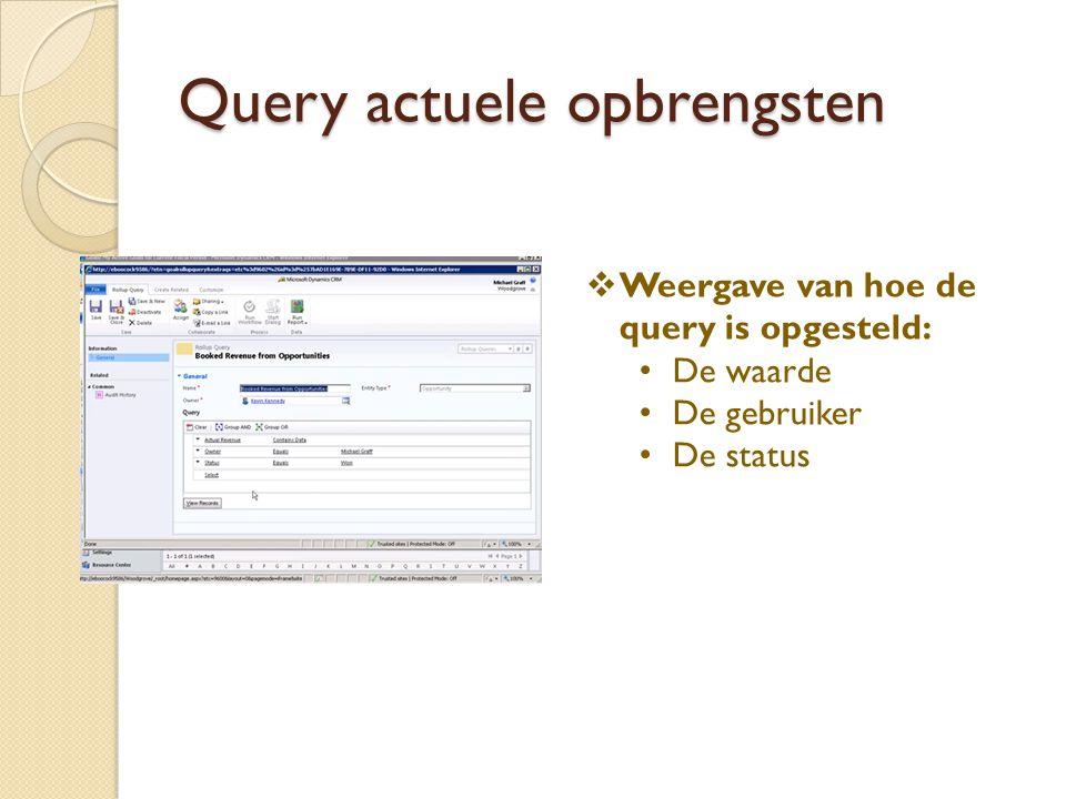 Query actuele opbrengsten  Weergave van hoe de query is opgesteld: De waarde De gebruiker De status