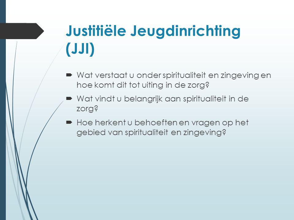 Justitiële Jeugdinrichting (JJI)  Wat verstaat u onder spiritualiteit en zingeving en hoe komt dit tot uiting in de zorg?  Wat vindt u belangrijk aa