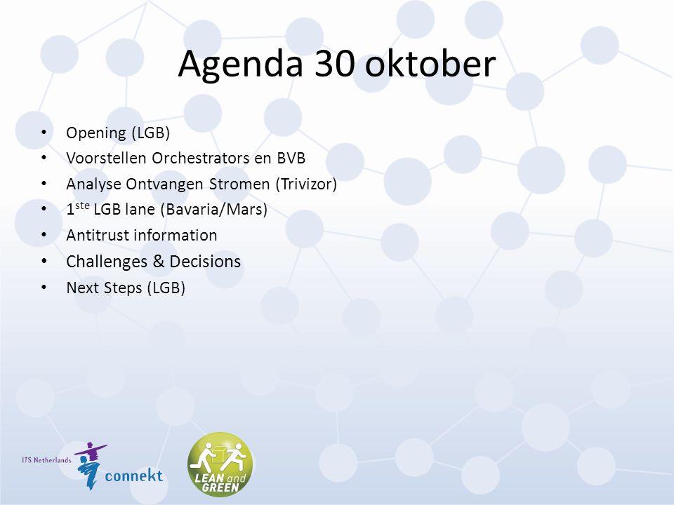 Agenda 30 oktober Opening (LGB) Voorstellen Orchestrators en BVB Analyse Ontvangen Stromen (Trivizor) 1 ste LGB lane (Bavaria/Mars) Antitrust informat