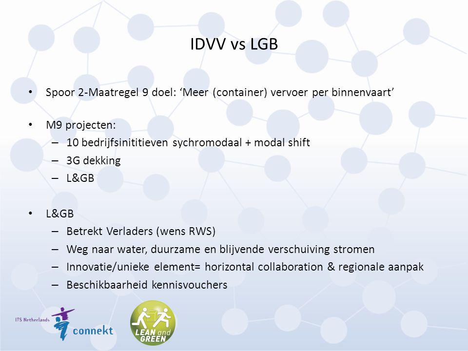 IDVV vs LGB Spoor 2-Maatregel 9 doel: 'Meer (container) vervoer per binnenvaart' M9 projecten: – 10 bedrijfsinititieven sychromodaal + modal shift – 3