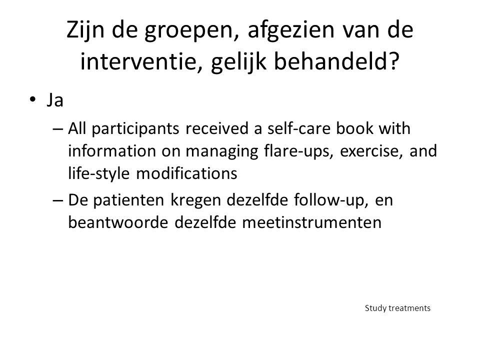 Zijn de groepen, afgezien van de interventie, gelijk behandeld? Ja – All participants received a self-care book with information on managing flare-ups