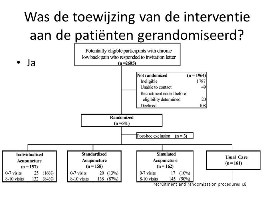Was de toewijzing van de interventie aan de patiënten gerandomiseerd? Ja recruitment and randomization procedures r.8
