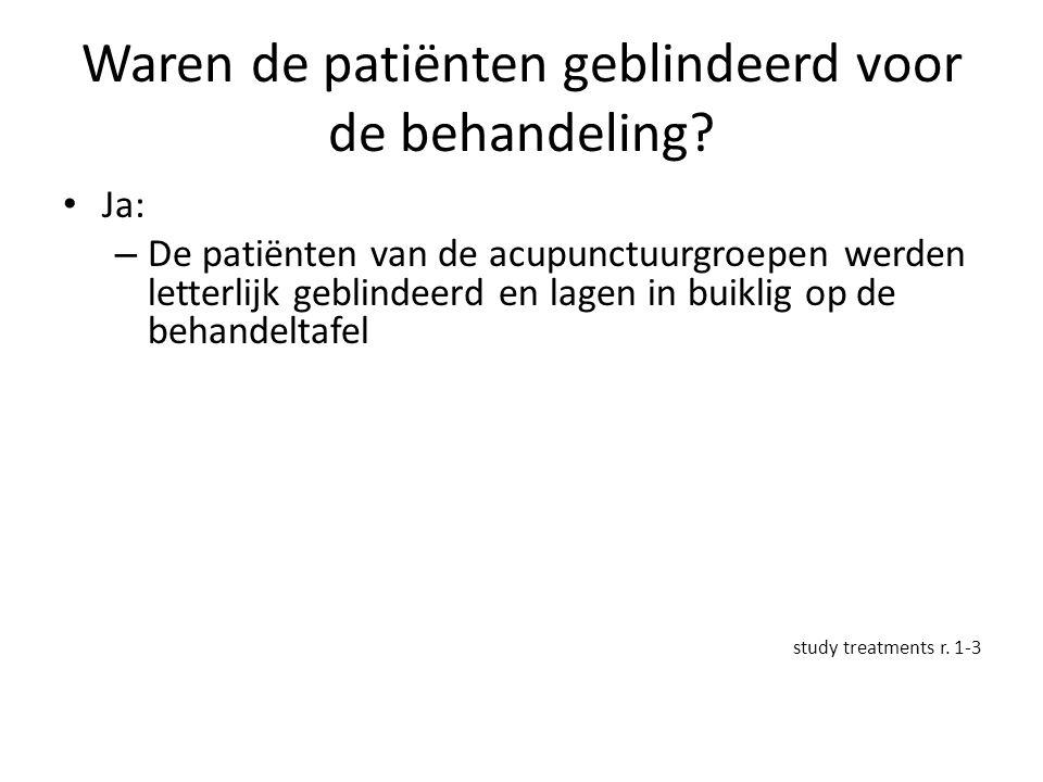 Waren de patiënten geblindeerd voor de behandeling? Ja: – De patiënten van de acupunctuurgroepen werden letterlijk geblindeerd en lagen in buiklig op