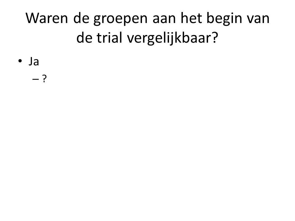 Waren de groepen aan het begin van de trial vergelijkbaar? Ja – ?