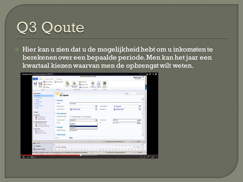  Bij informatie die in het linkse lint staat kan men het doelcriteria bekijken waar informatie staat over de query's die gebruikt worden