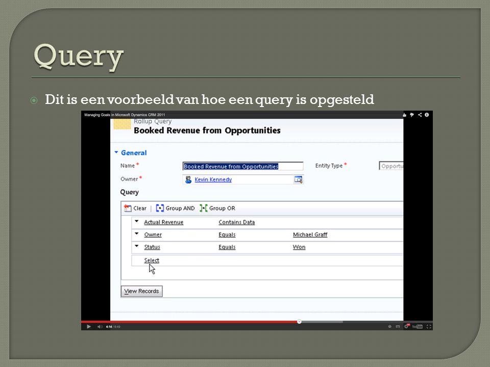  Als men bij een query naar rapporten gaat kan men gedetailleerde info vinden.