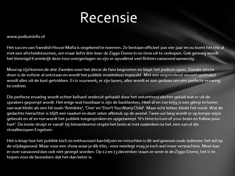 Recensie www.podiuminfo.nl Het succes van Swedish House Mafia is ongekend te noemen.