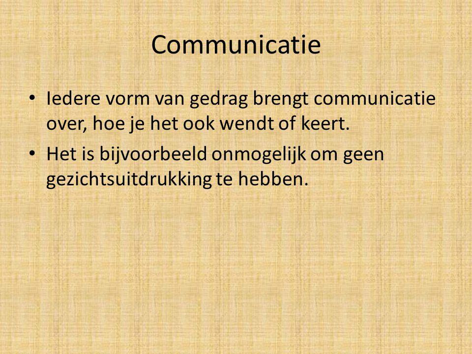 Communicatie Iedere vorm van gedrag brengt communicatie over, hoe je het ook wendt of keert. Het is bijvoorbeeld onmogelijk om geen gezichtsuitdrukkin