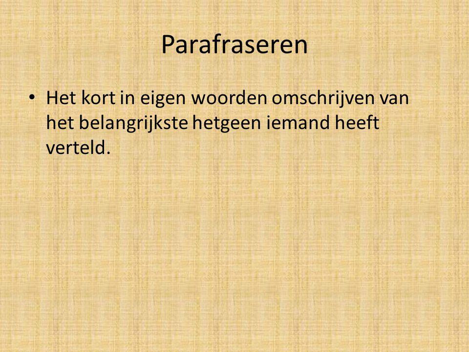 Parafraseren Het kort in eigen woorden omschrijven van het belangrijkste hetgeen iemand heeft verteld.