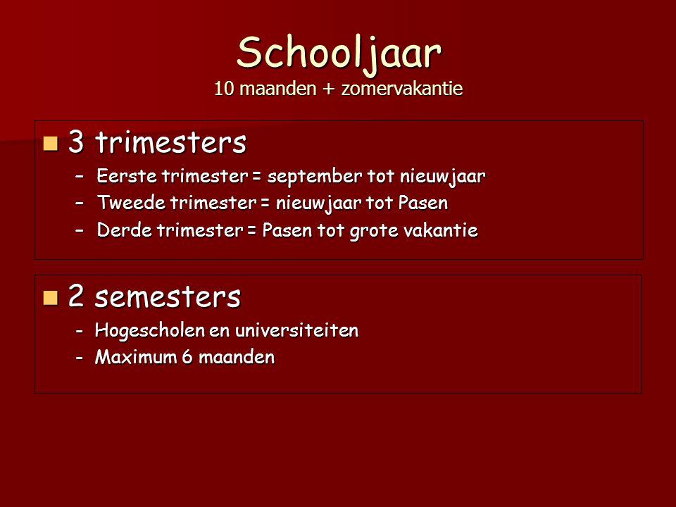 Schooljaar 10 maanden + zomervakantie 3 trimesters 3 trimesters –Eerste trimester = september tot nieuwjaar –Tweede trimester = nieuwjaar tot Pasen –D