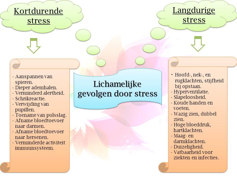 Lichamelijke gevolgen door stress Langdurige stress Kortdurende stress - Aanspannen van spieren. - Dieper ademhalen. - Verminderd alertheid. - Schrikr